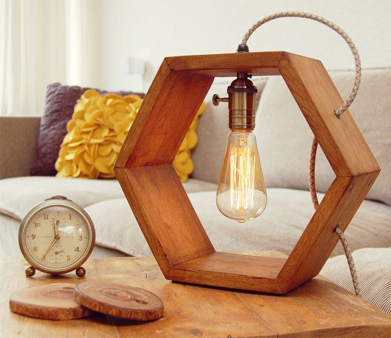 Hexagon Design Table Lamp With Edison Bulb Helder Dutch Design Table Lamp Wood Wooden Table Lamps Table Lamp