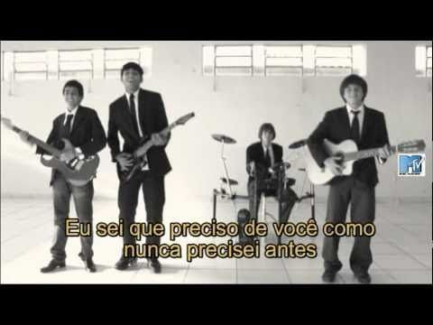 The Beatles - Help!  Hilarious! Lipsynced by some young guys who look nothing like the Beatles, and with Portuguese subtitles!!