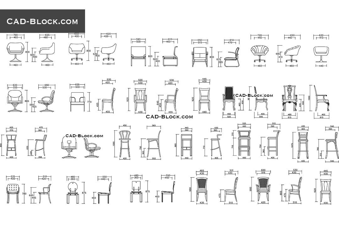 Office furniture elevation autocad block chair