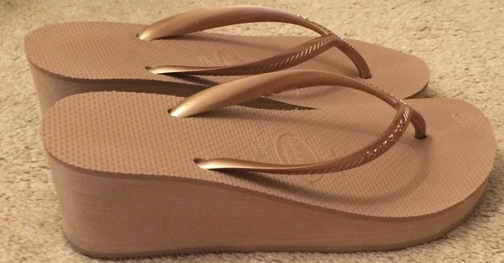 b9e50a007e73 Havaianas High Fashion Flip Flops - Rose Gold Nude Wedge - Size USA 7 8   Havaianas  FlipFlops  Casual