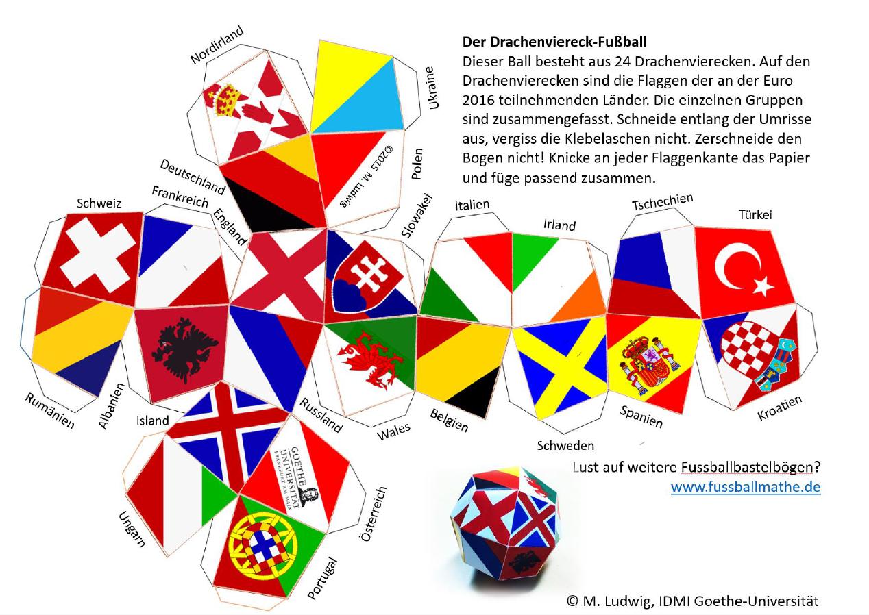 Drachenviereck Fu Ball Mit Flaggen Der Em Teilnehmer