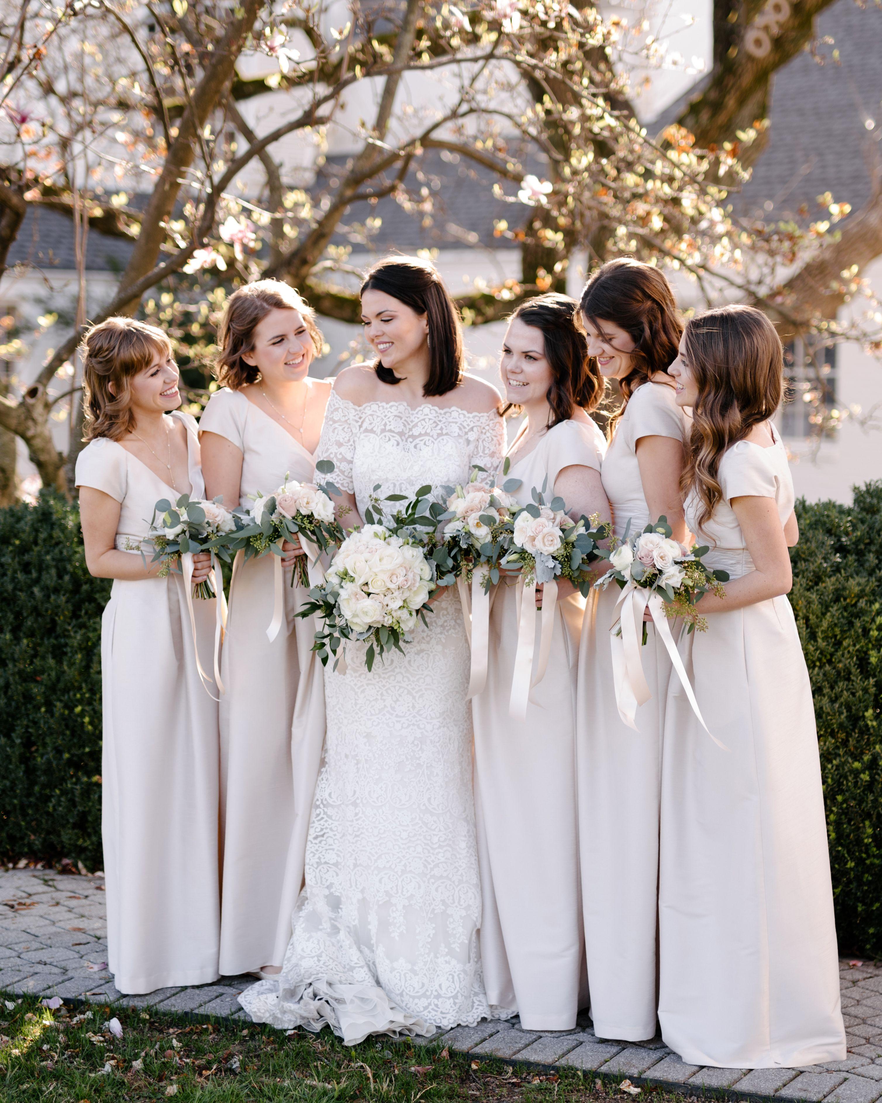 Beautiful bride mariel dandrea bridesmaids wearing alfred sung in bridesmaids wearing alfred sung in champagne dupioni from ombrellifo Choice Image