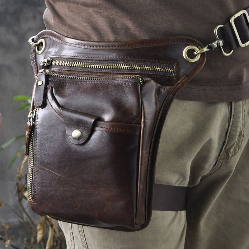 Le/'aokuu Mens Genuine Leather Motorcycle Drop Leg Bag Waist Pack Thigh Messenger