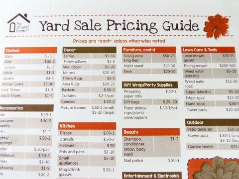 Printable Yard Sale Pricing Guide Tips Yard Sale Signs Yard