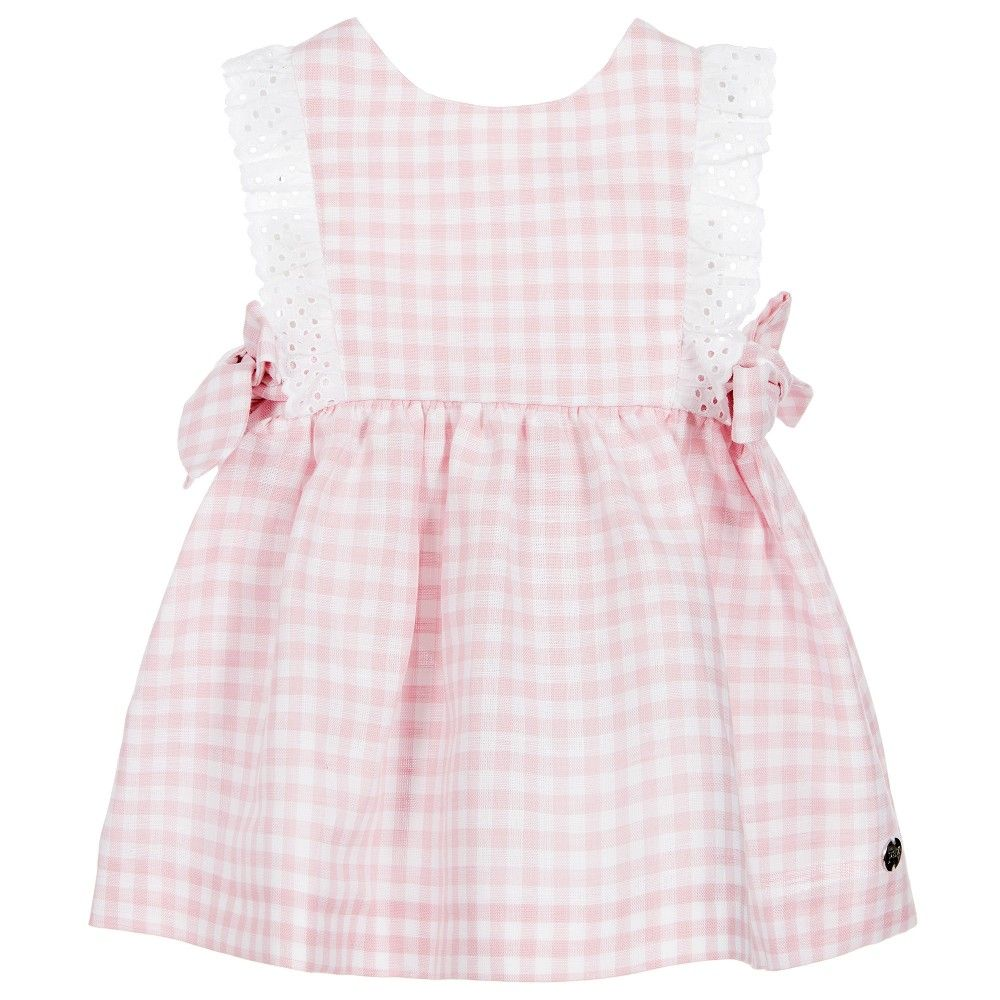 Paz Rodriguez - Girls Pink Linen Pinafore Dress  