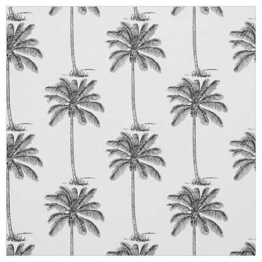 Coconut Palm Trees Pattern Line Drawing Style Fabric Palm Tree