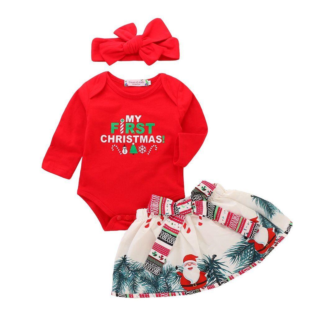 3pc Newborn Baby Girl Christmas Letter Romper Tops Deer Skirt Outfit Set Red