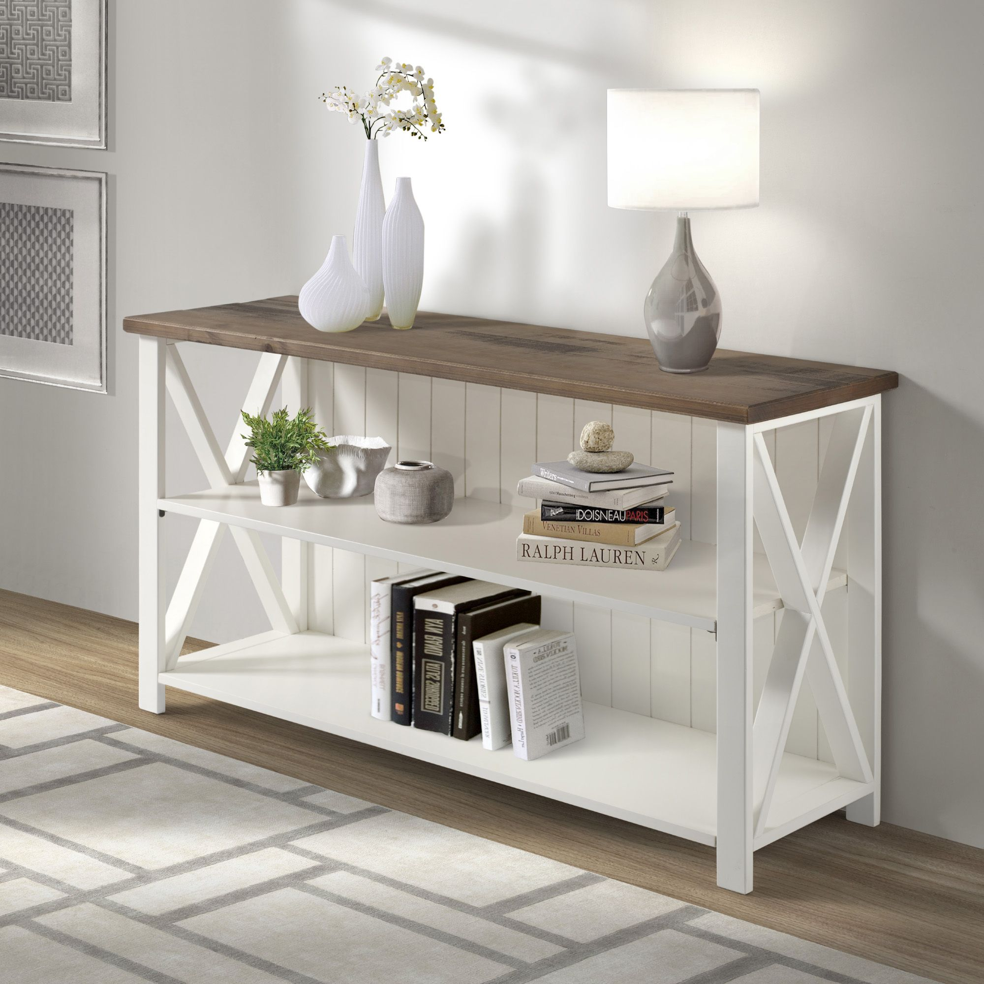 White and Reclaimed Barnwood Solid Wood Storage Console by