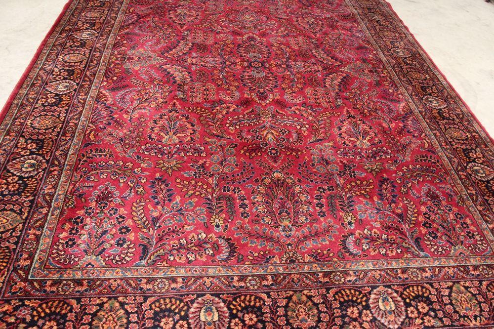 Antique Karastan 9x12 Red Sarouk Oriental Persian 700 785 100 Wool Rug