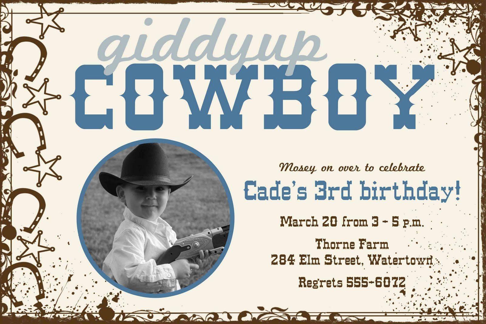 Cowboy party invite..... DARLING!! | Hunter Birthday ideas ...