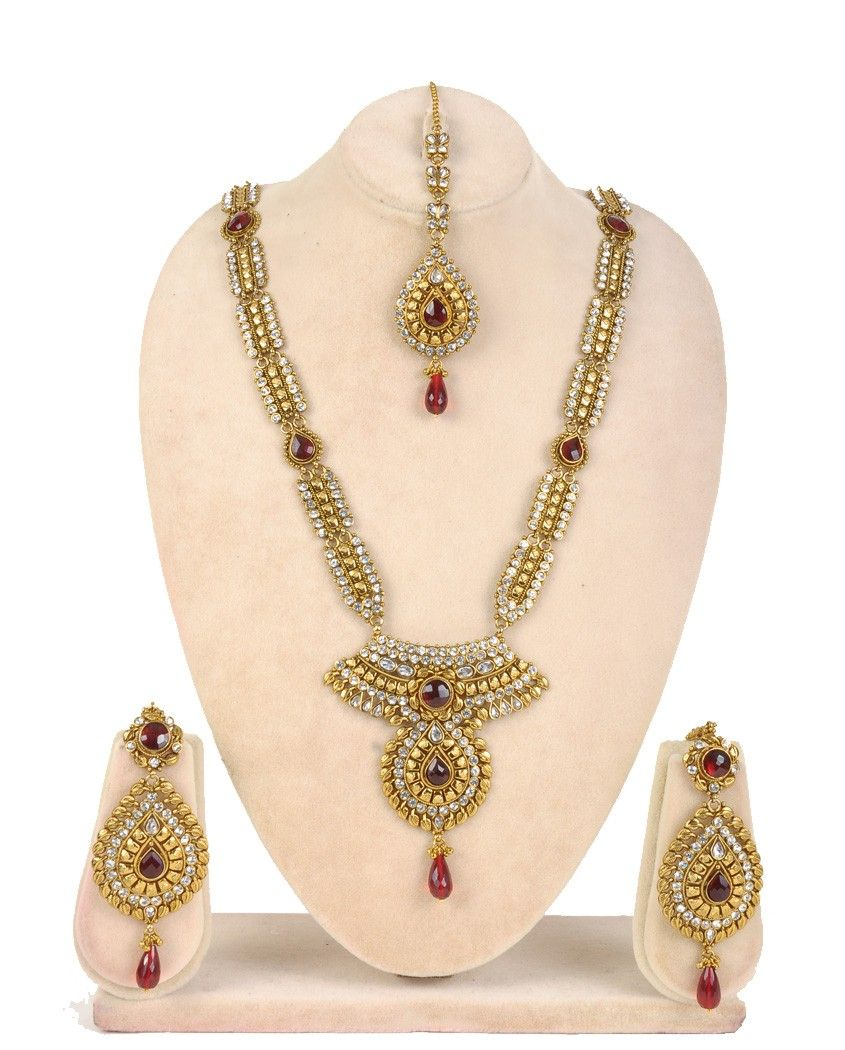 Gold rani haar pictures to pin on pinterest - Rani Haar Made Of Rectangular Strips Of Rhinestones With Red Jade At Gaps 2 Wide Pendant Style With Red Round Jade Surrounded By Rhinestones And Golden