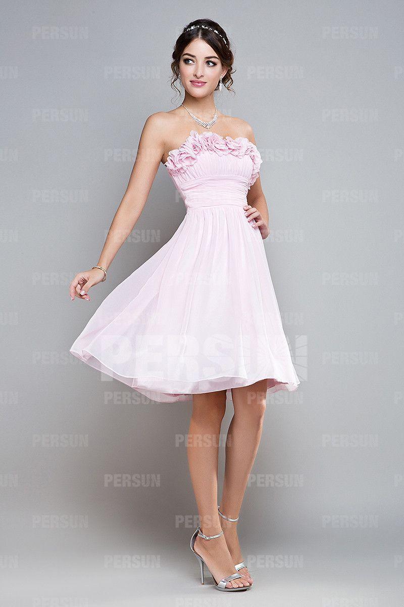 robe rose pastel courte pour mariage bustier orn de fleurs coiffure robe pour r ception. Black Bedroom Furniture Sets. Home Design Ideas