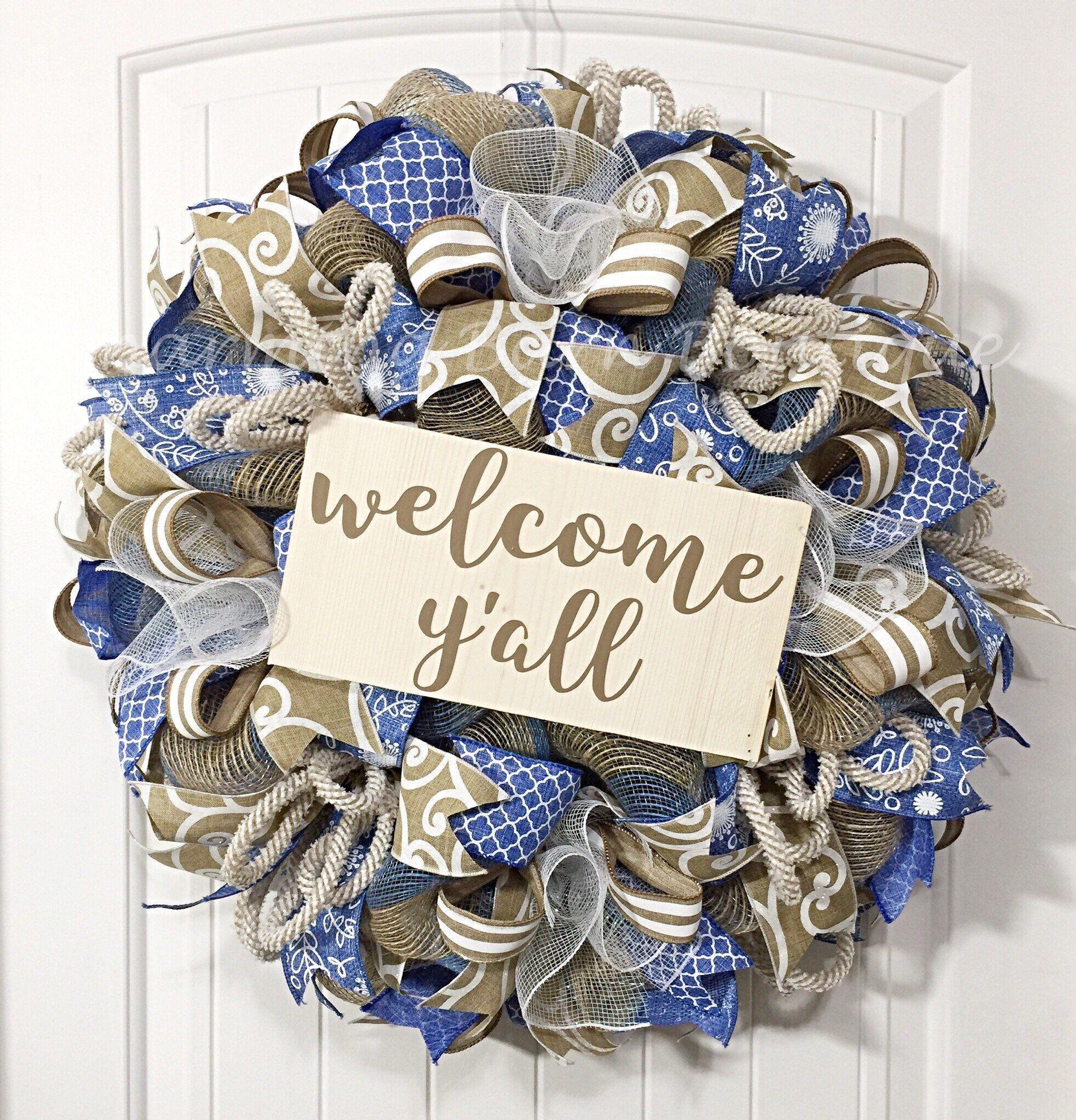 Custom order for lori welcome wreath year round wreath welcome custom order for lori welcome wreath year round wreath welcome yall rubansaba