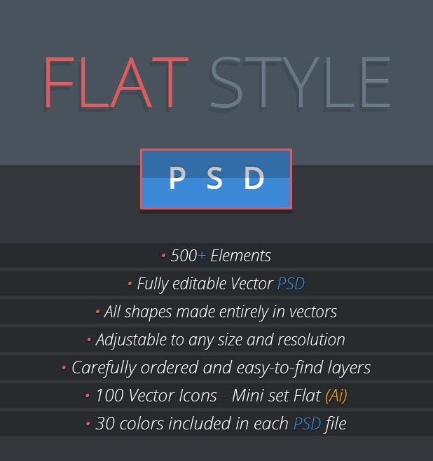 Flat GUI Set: This collection contains 7 PSDs, a vector PSD, 500+ individual elements, as well as vector icons. 30 different colors available.  Everything from music playlists to contact details and error messages are included here in a flat style.  Free and commercial versions available.