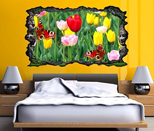 3d wandtattoo fr hling tulpe tulpen schmetterling selbstklebend wandbild wandsticker wohnzimmer. Black Bedroom Furniture Sets. Home Design Ideas