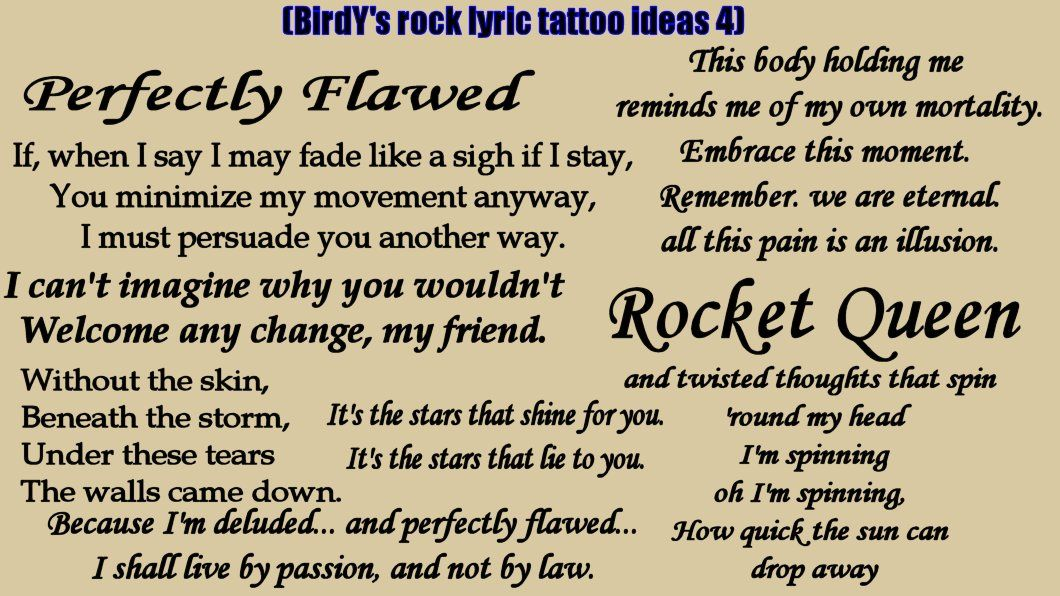Lyric my rock lyrics : My rock/heavy metal song lyric tattoo ideas, 4- Otep, Tool, Stone ...