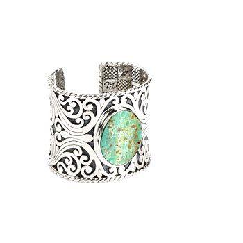 Maharani - Maharani Wisdom Sterling #Silver 22k Satin Gold Overlay Cuff with #Turquoise #NinaNguyen