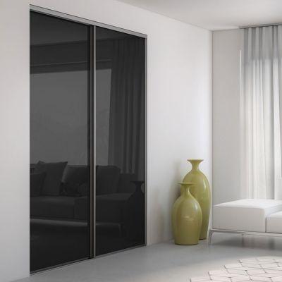 Porte Coulissante Verre Laqué Brillant Noir Porte Coulissante En - Porte placard coulissante avec porte intérieure vitrée blanche