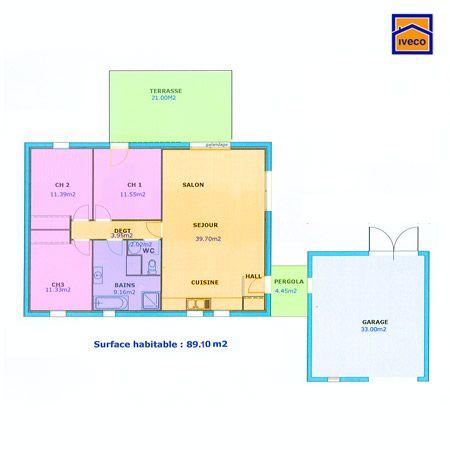 plan maison plain pied 3 chambres - Plan De Maison De 100m2 Plein Pied