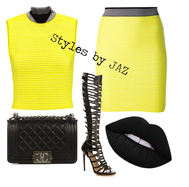 """""""Blvck and yellow..."""" by harrisjazmin on Polyvore featuring Alexander Wang, Paul Andrew, Chanel and Lime Crime"""