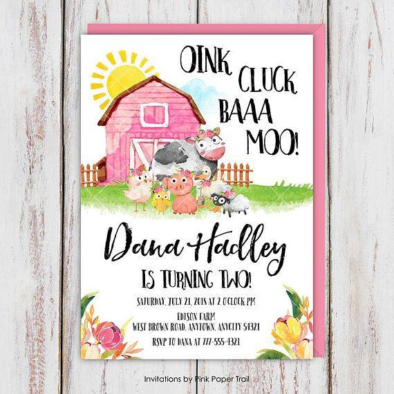 Farm Birthday Invitation Pink Floral Barn Girl Party Barnyard Cow Pi