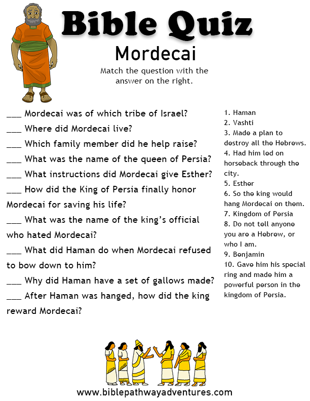 picture relating to Printable Bible Quiz named Bible Quiz for Small children: Mordecai and Esther young children church