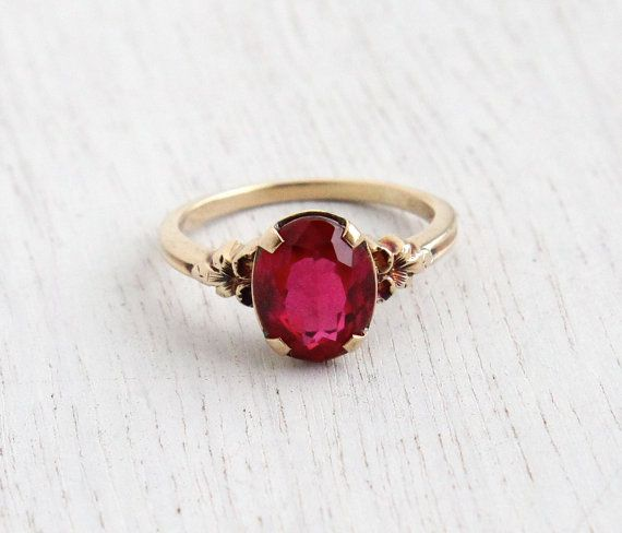 Reserved For Lisa Final Payment Vintage 10k Yellow Gold Ruby Stone Ring Art Deco 1930s Size 7 Flower Fine Jewelry Solitaire Red Pink Wedding Rings Vintage Ruby