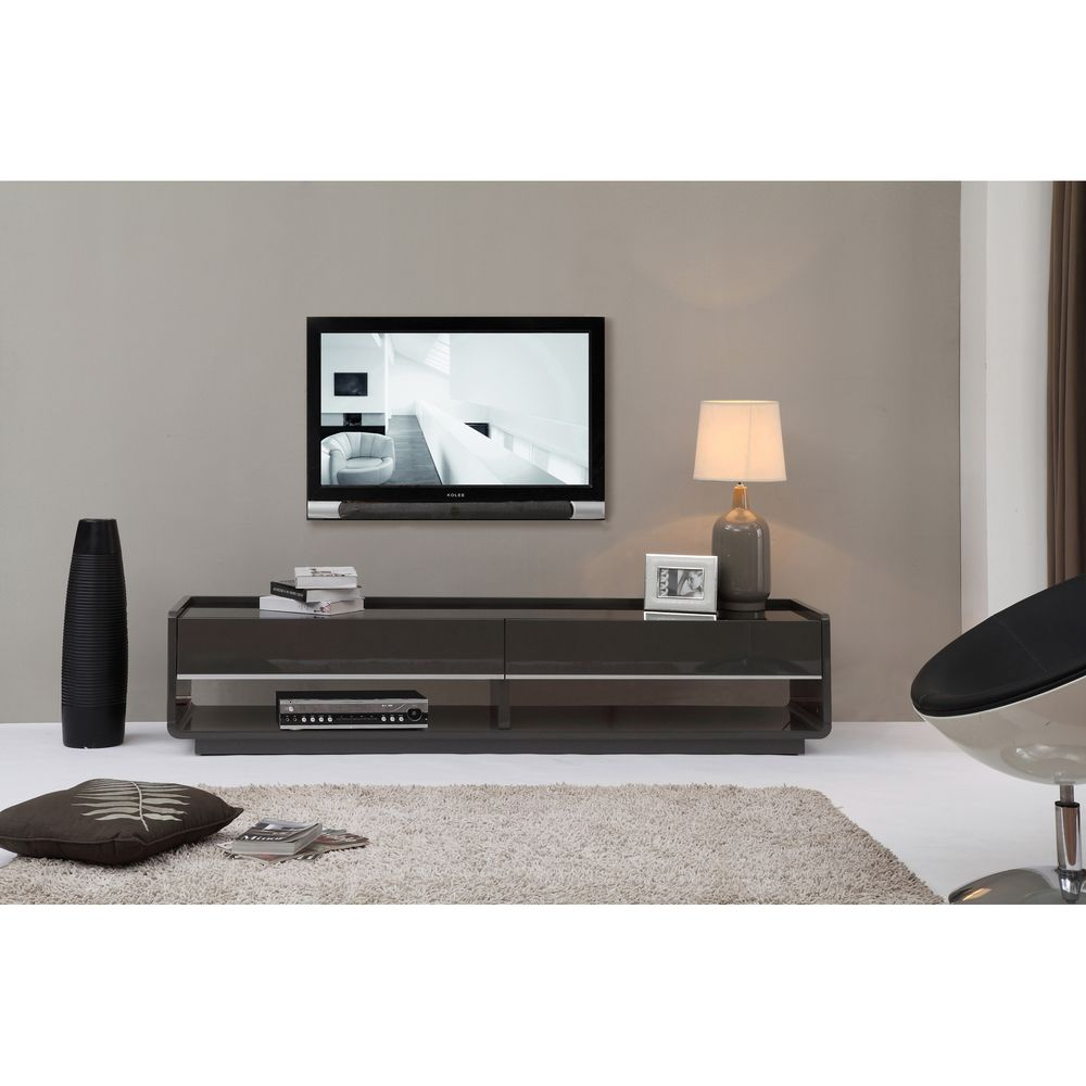 Superb Modena Grey/ Black 2 Drawer Modern TV Stand | Overstock.com