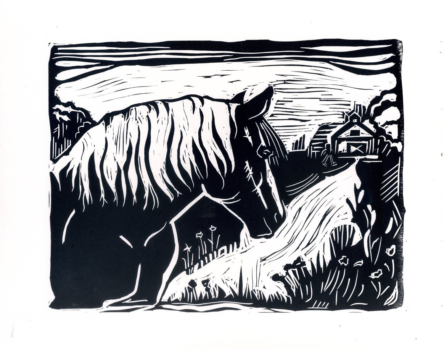 Horse In Field Original Linoleum Block Print. 15.00