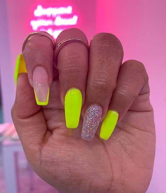 32 Bright Neon Colors Ombre Nails Design 2019 Brightcoffinnails Coffinnails Brightnails 6aming Long Acrylic Nail Designs Long Acrylic Nails Perfect Nails