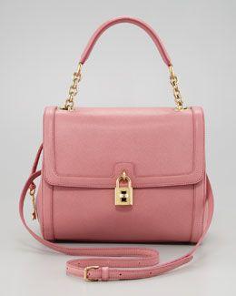 V1GV0 Dolce & Gabbana Miss Dolce Leather Satchel Bag, Pink