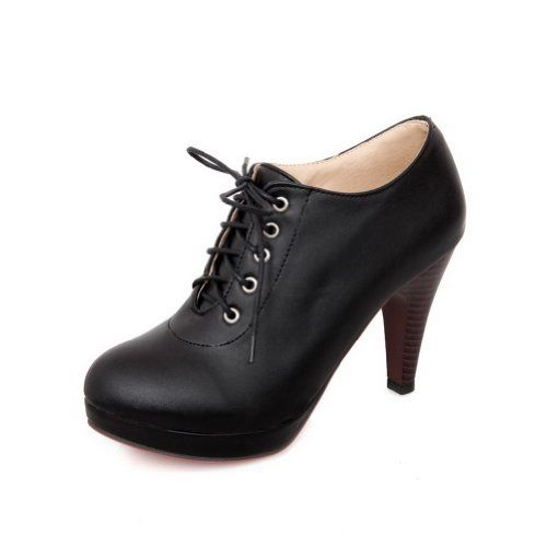 BeanFashion Womans Closed Round Toe High Heel Spikes Stilettos PU Soft Material Solid Pumps with Bandage, Black, 8 B(M) US BeanFashion http://www.amazon.com/dp/B00KDT152K/ref=cm_sw_r_pi_dp_2HLYub0PEVDZ0