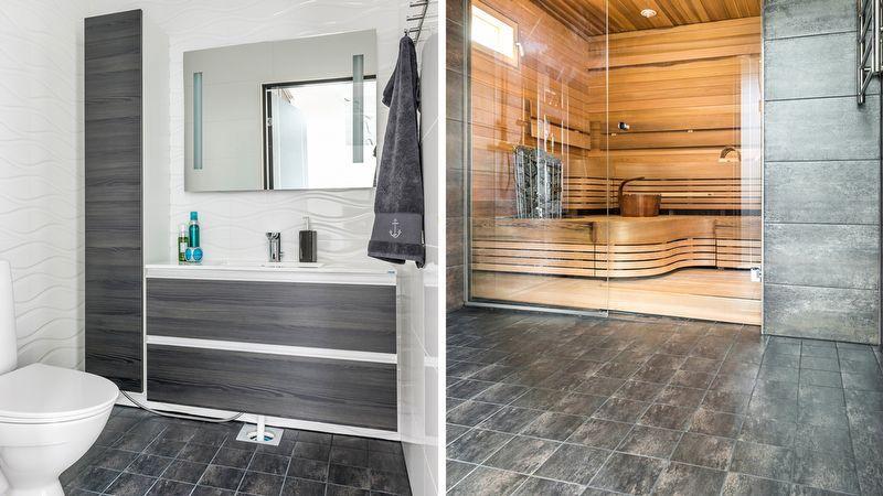 Pukkilan laatoitusideoita kylpyhuone- ja wc-tiloihin.