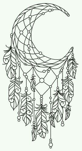 Moon Feathers Dreamcatcher Coloring Pages Tattoos