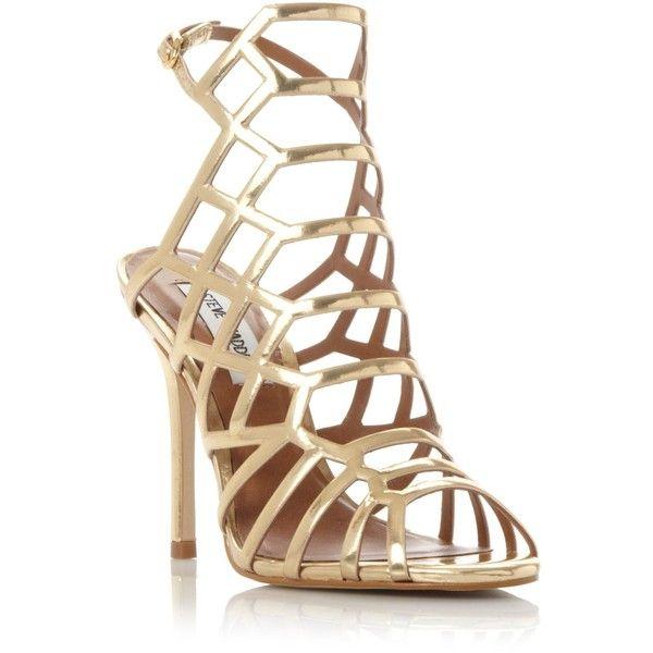 719fc9fa3c6 Steve Madden Slither caged heel sandals ❤ liked on Polyvore ...