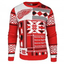 Detroit Red Wings Patches Ugly Sweater (Red)