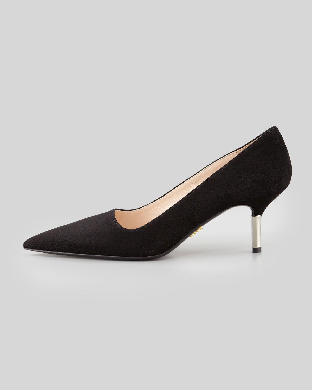 f5be034ba Prada Low-Heel Suede Pointed-Toe Pump Black | kick up those heels ...