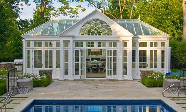 Greenhouse by pool