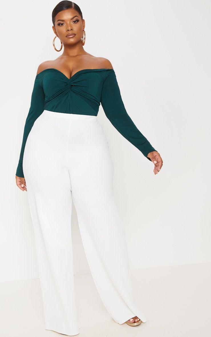24db310eca4 Plus Slinky Emerald Green Twist Front Bardot Bodysuit in 2019 ...