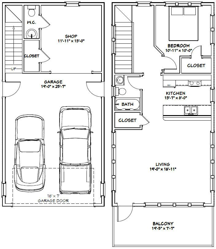 2 Car Garage With Apartment Plans 2 Car Garage Ideas Log: 1 Bedroom, 1.5 Bath Home With 2 Car Garage. It