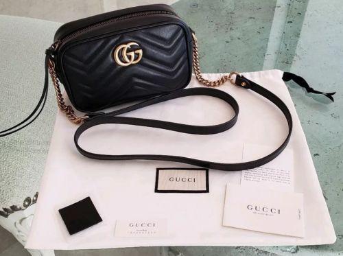 278aa16f1fa8 Gucci Marmont matelassé GG mini Camera Bag Crossbody Black Chevron Leather  EUC