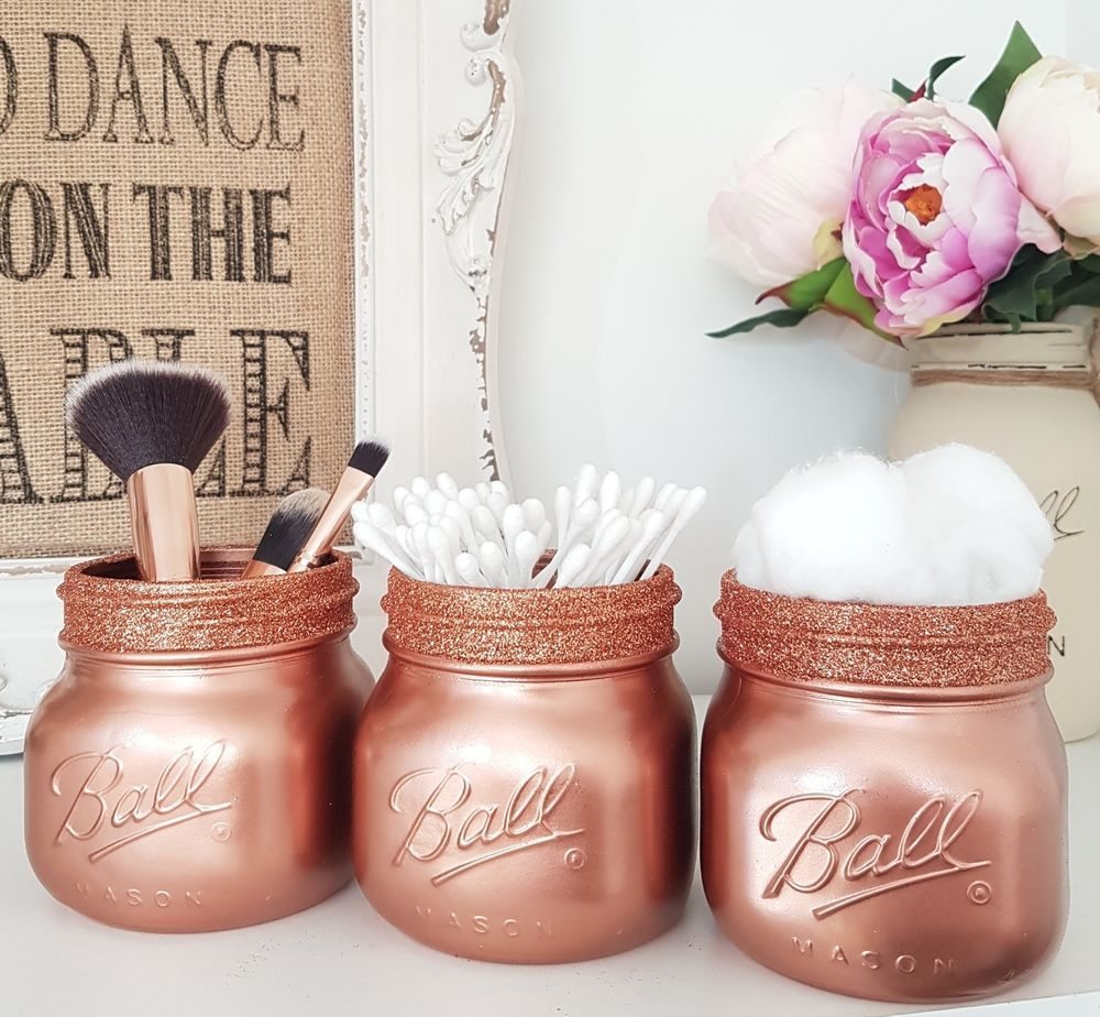 Painted rose gold mason jars with rose gold glitter rim top set of 3 junglespirit Images