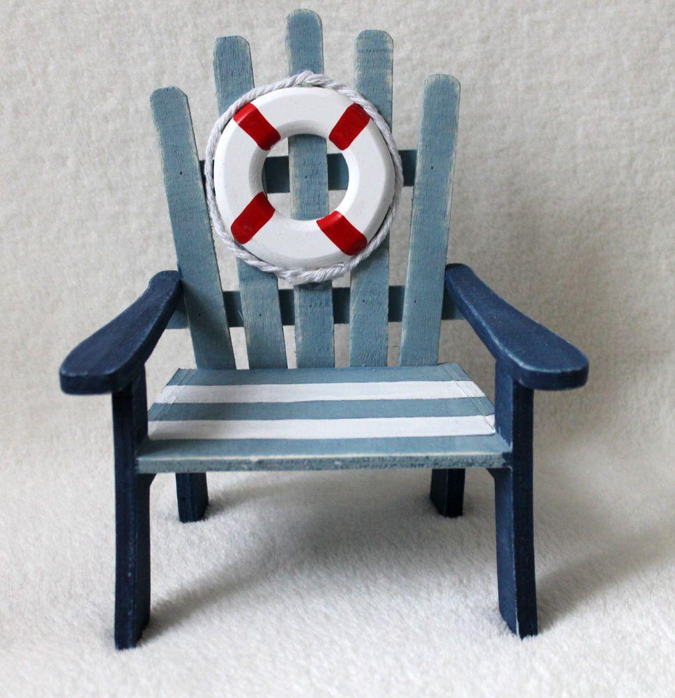 Mini Stuhl 19 x 16 cm Holz zur Dekoration mit Rettungsring Puppenstuhl