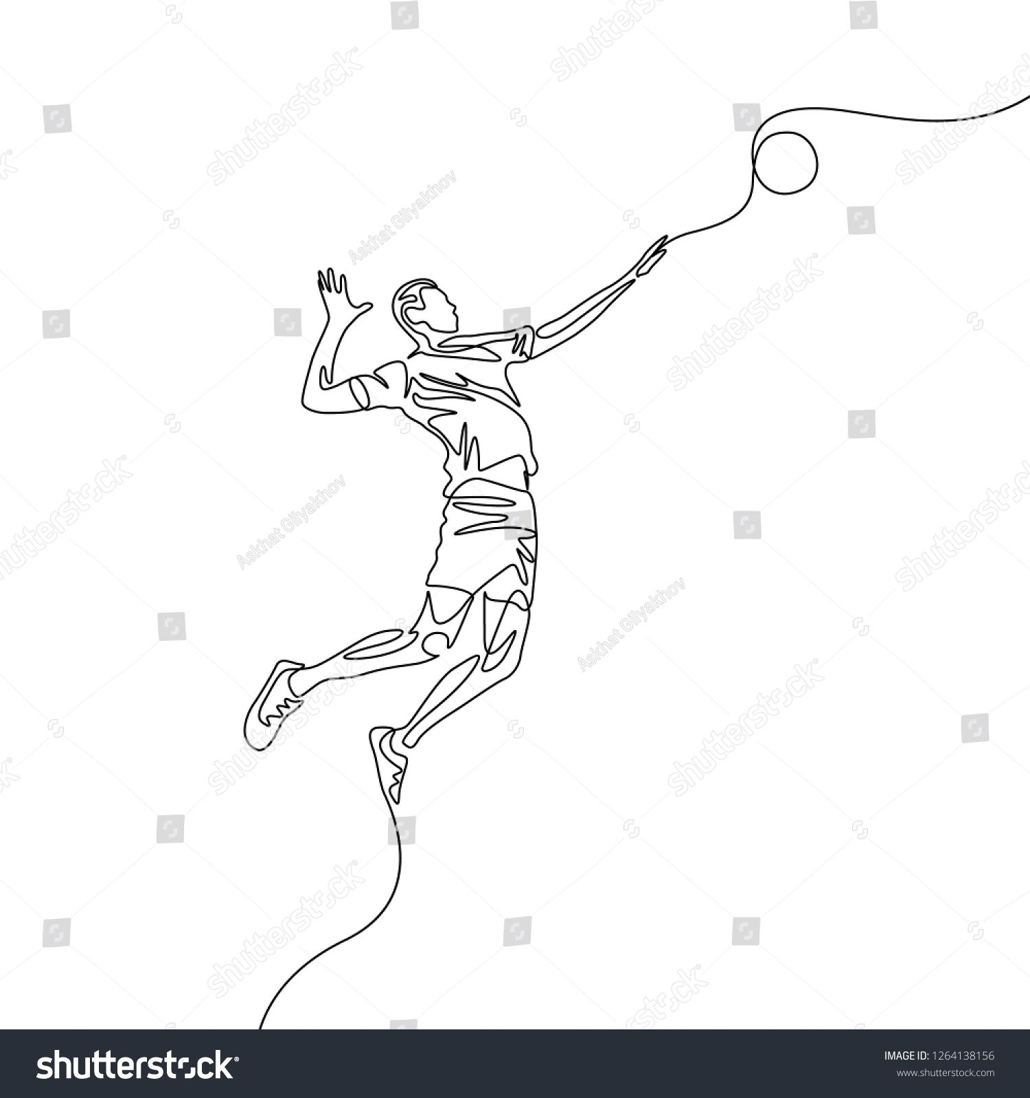 Continuous One Line Volleyball Player Jumps To Throw The Ball Volleyball Theme Sport Line Art Drawings Fall Drawings Line Drawing