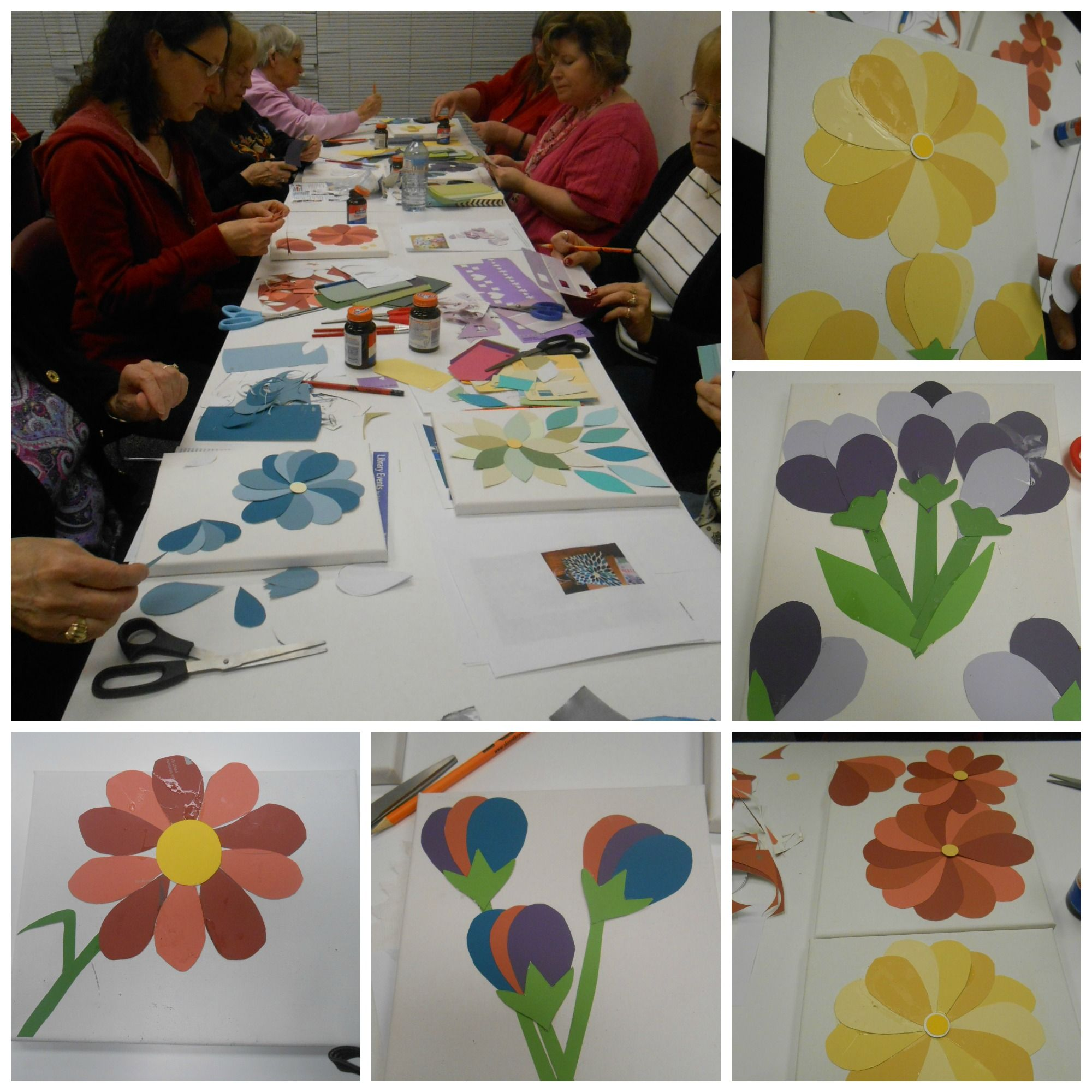 Saturday Morning Craft Club Paint Chip Flower Art March 12