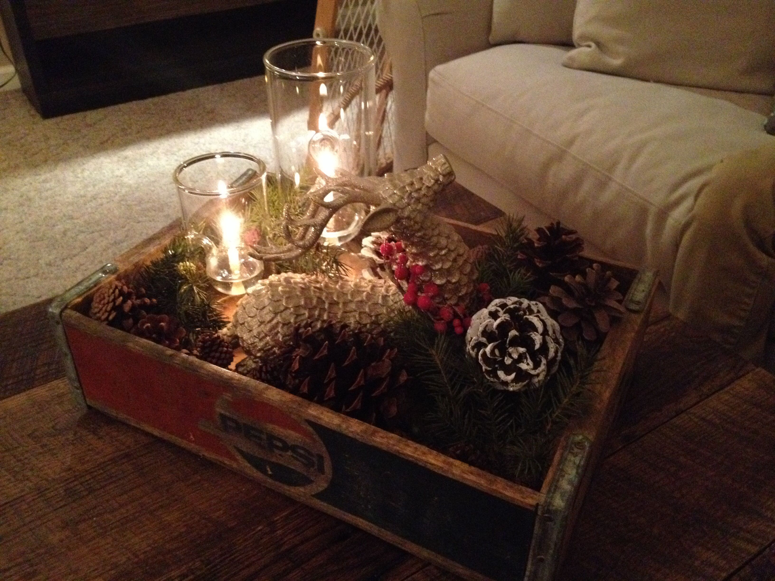 my christmas coffee table decor christmasdecor pinecones
