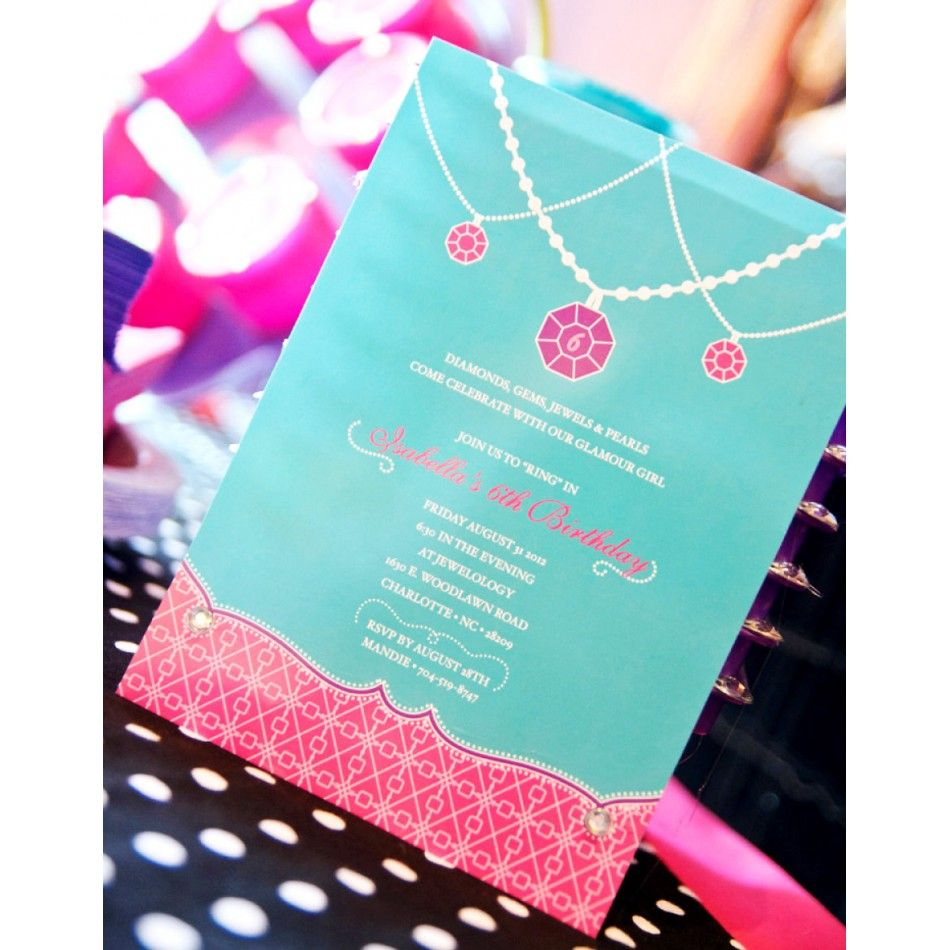 Glamour Girl Jewelry Birthday Party Printable Invitation   Jewelry ...