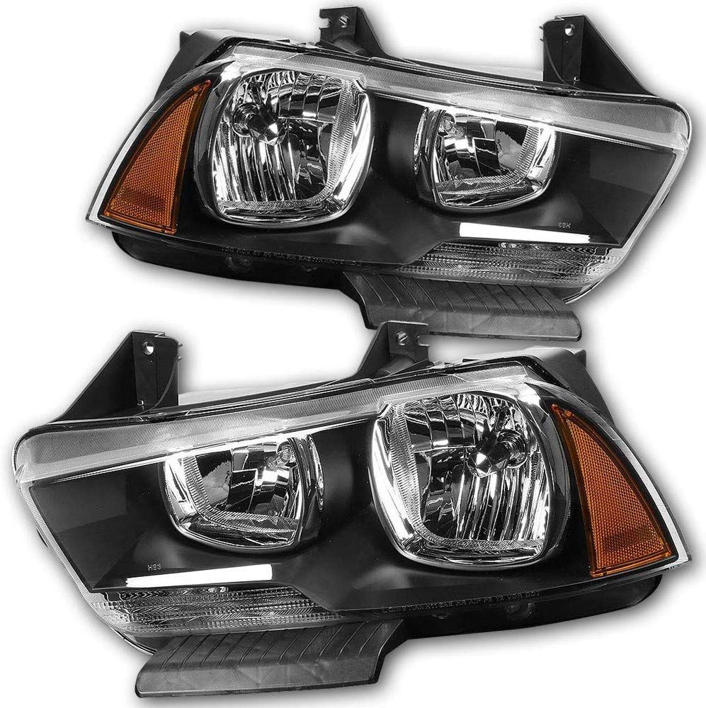 For11 14 Dodge Charger Halogen Headlamp With Black Housing Amber Reflector Driver And Passenger Side Headlight Assembly 2014 Dodge Charger Halogen Headlights