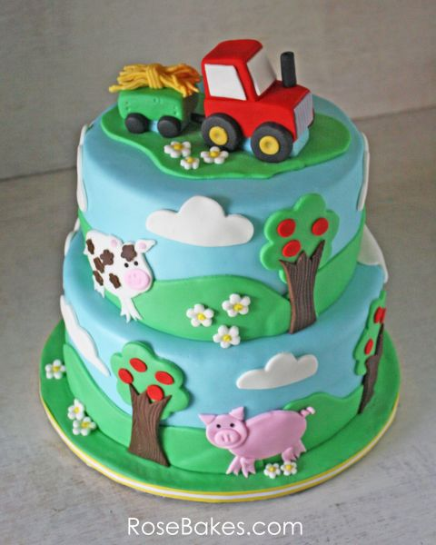 Farm Themed Cake with a Tractor Cake Topper Tractor Farm animal