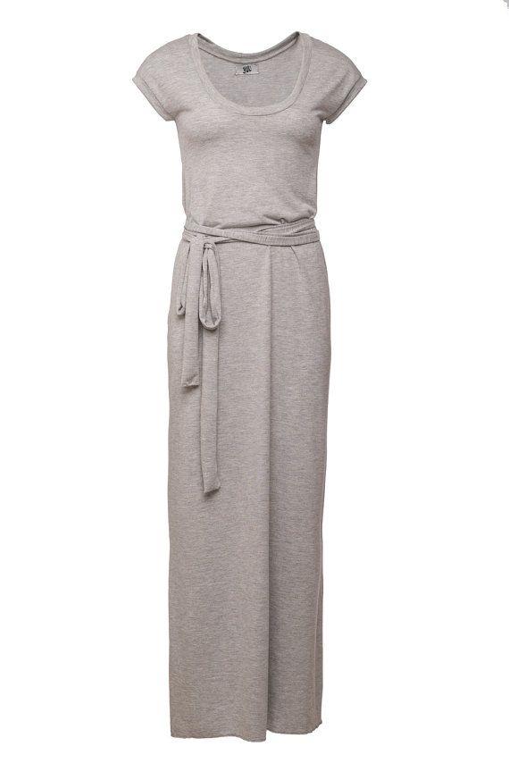 257fc3454af Tee shirt dress.MAXI dress. Long grey dress. LIGHT grey dress. Womens maxi  dress. Winter dress.Tshirt dress. 10% OFF